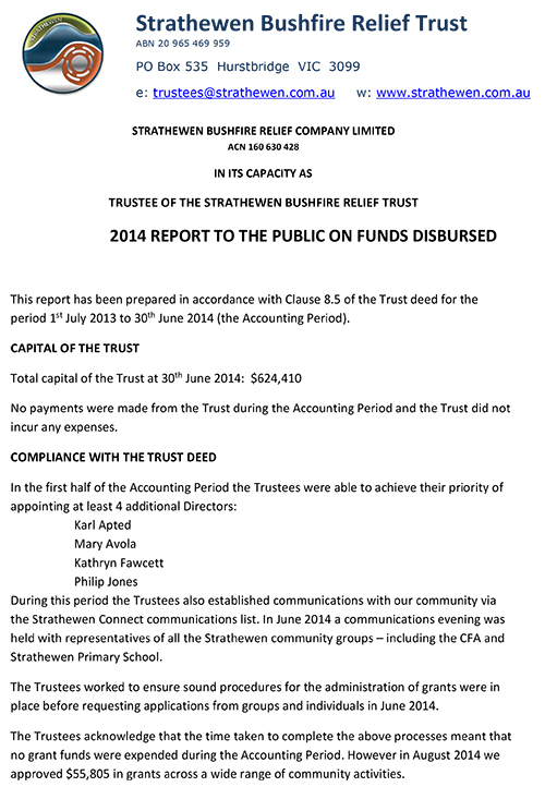 2014 Report to the public